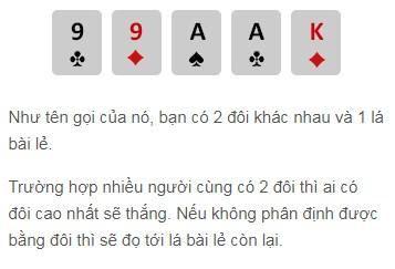 Hai đôi trong game đánh bài online w88