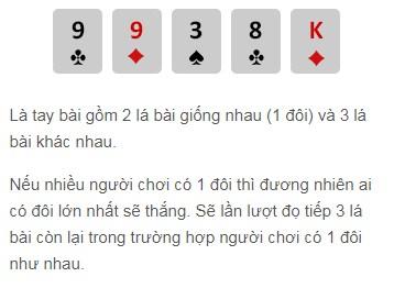 Một đôi trong trò chơi Poker W88