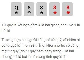 Tứ quý trong Poker w88