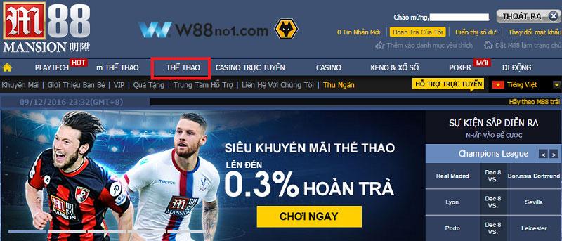Web cá cược thể thao trực tuyến m88